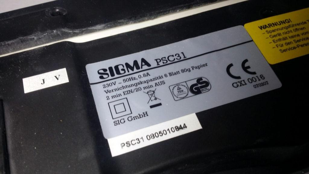 Sigma PSC31 Typenbezeichnung